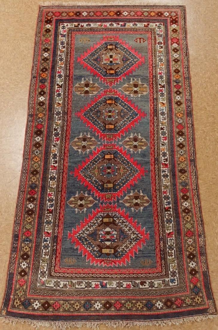 SHIRVAN Hand Knotted Wool BLUE Vintage Anatolian