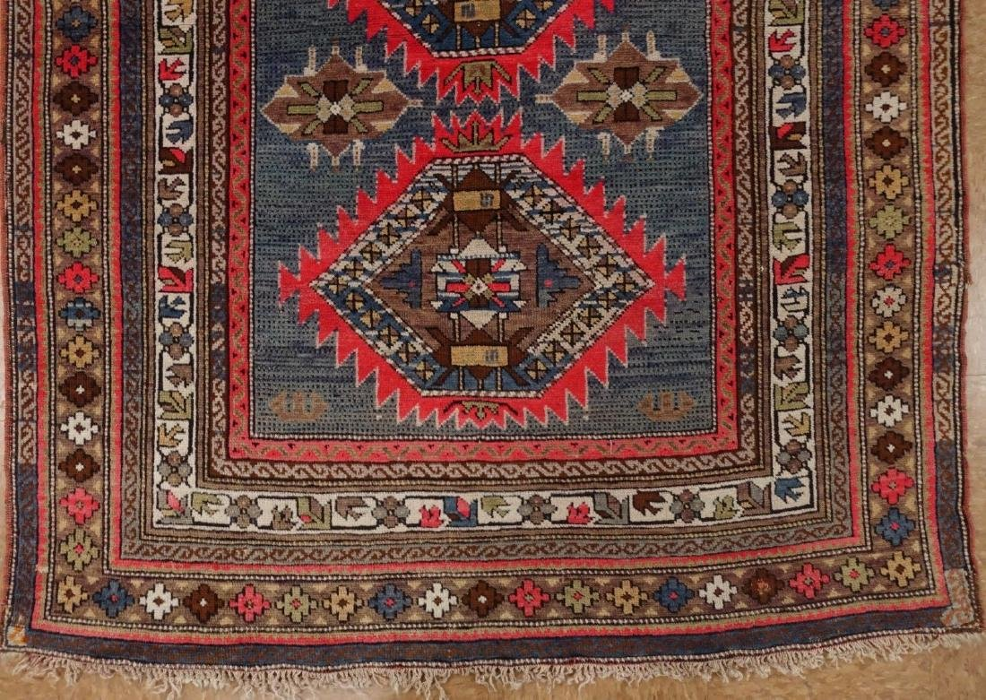 SHIRVAN Hand Knotted Wool BLUE Vintage Anatolian - 2