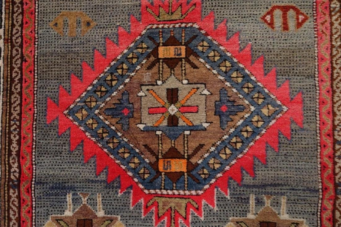 SHIRVAN Hand Knotted Wool BLUE Vintage Anatolian - 5