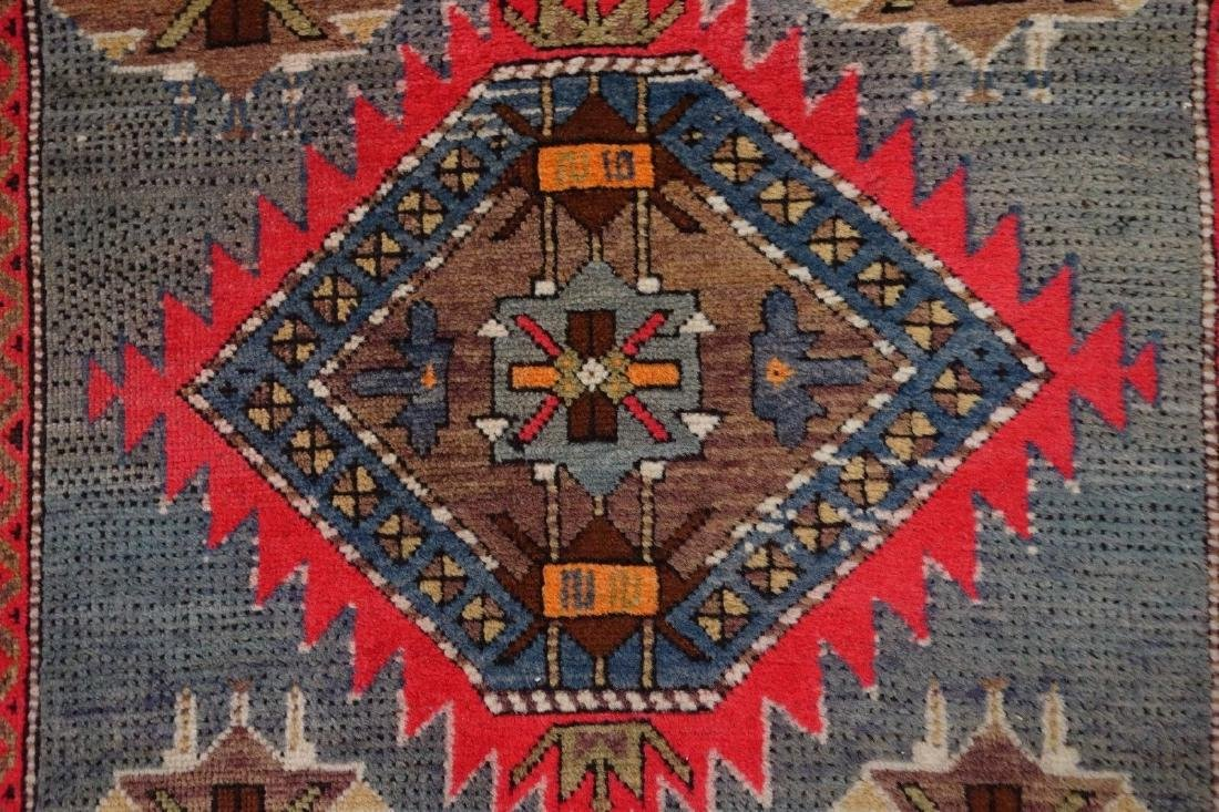 SHIRVAN Hand Knotted Wool BLUE Vintage Anatolian - 7