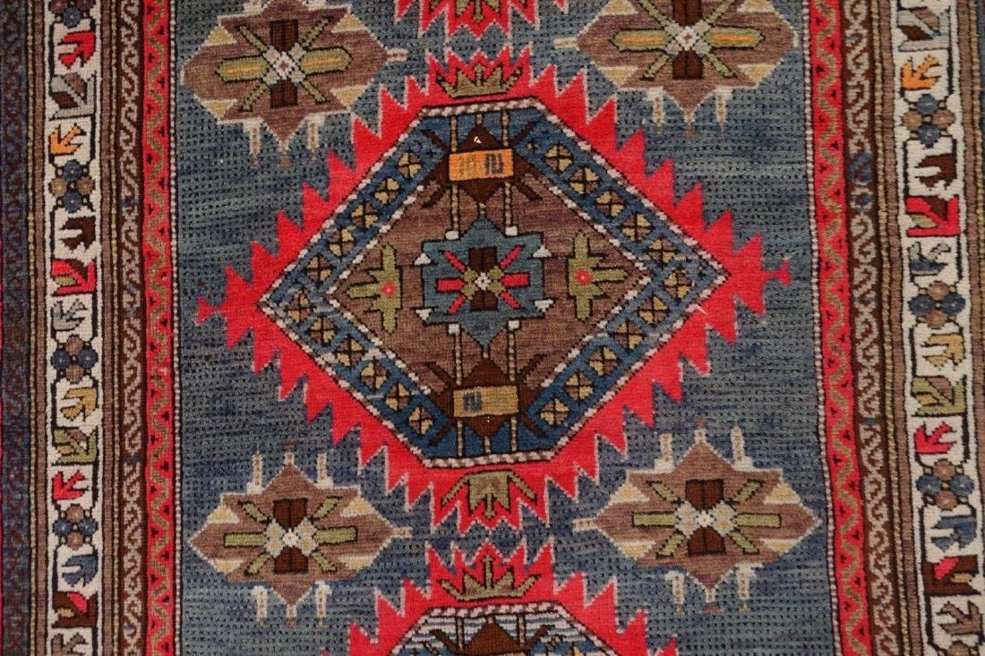 SHIRVAN Hand Knotted Wool BLUE Vintage Anatolian - 8