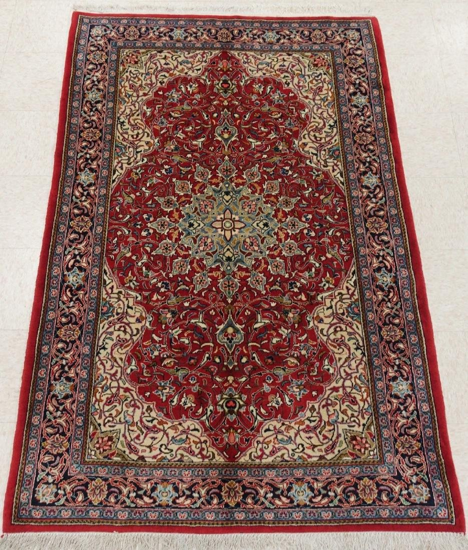 PERSIAN SAROUK Hand Knotted Wool BRICK RED NAVY Fine