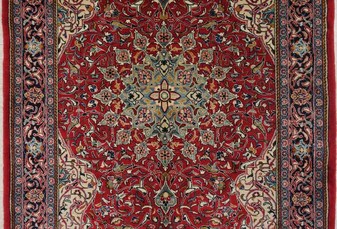 PERSIAN SAROUK Hand Knotted Wool BRICK RED NAVY Fine - 3