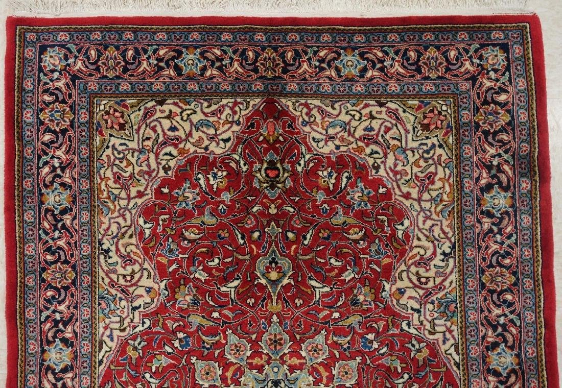 PERSIAN SAROUK Hand Knotted Wool BRICK RED NAVY Fine - 4