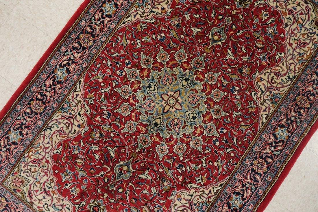 PERSIAN SAROUK Hand Knotted Wool BRICK RED NAVY Fine - 7