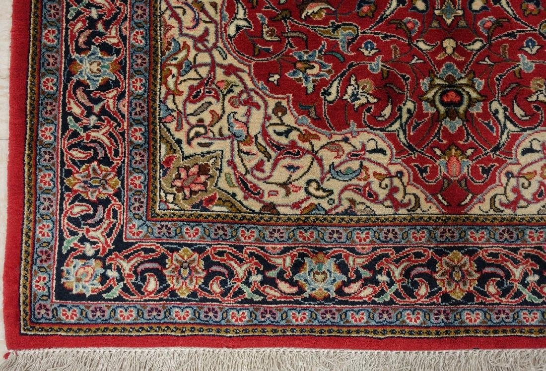 PERSIAN SAROUK Hand Knotted Wool BRICK RED NAVY Fine - 9