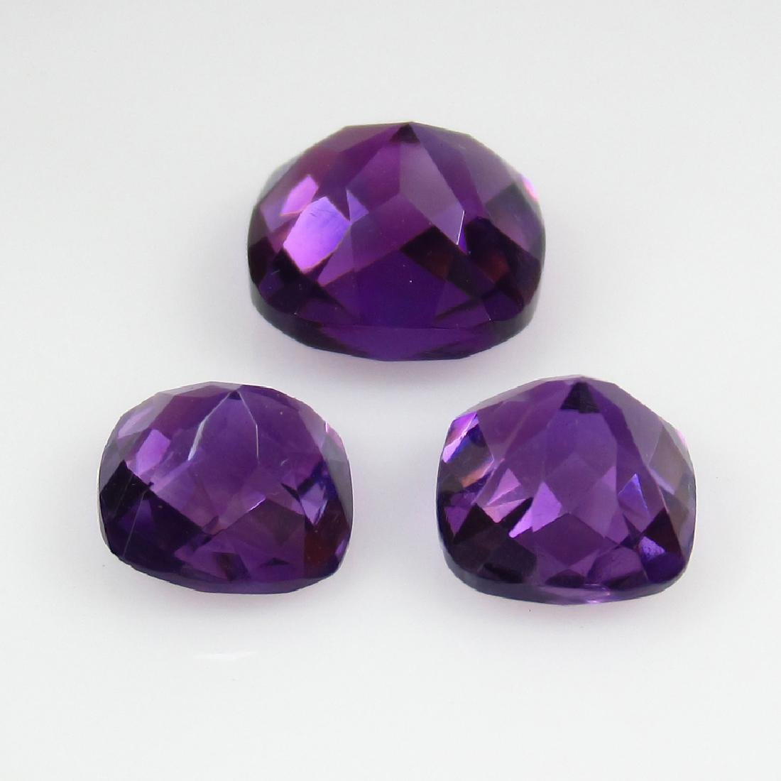 6.21 Ctw Natural 3 Loose Purple Amethyst Cushion - 2