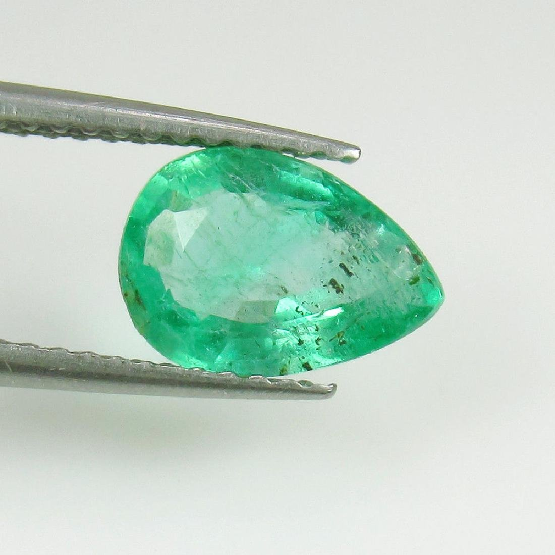 1.22 Ctw Natural Loose Zambian Emerald Excellent Pear