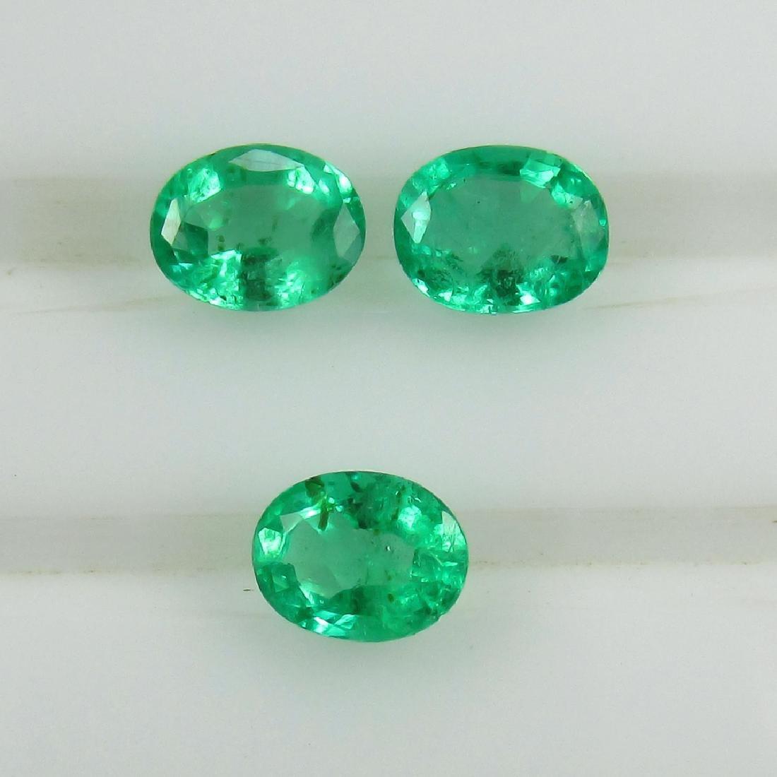 0.72 Ctw Natural 3 Loose Zambian Emerald 4.5X3.5 mm