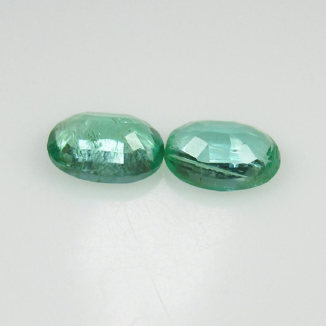 0.92 Ctw Natural Zambian Emerald Matching Oval Pair - 2