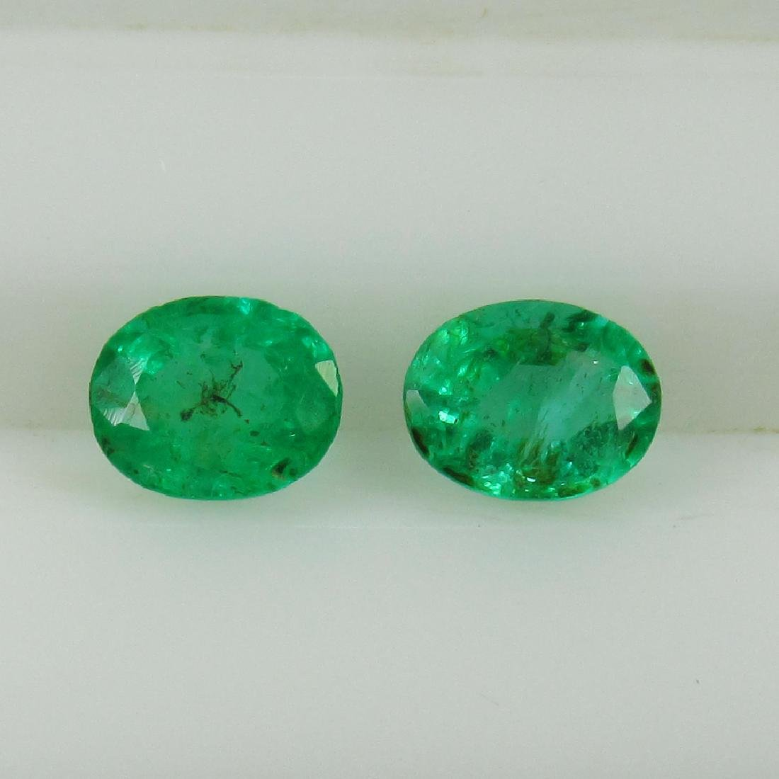 0.64 Ctw Natural Zambian Emerald 5x4 mm Oval Pair
