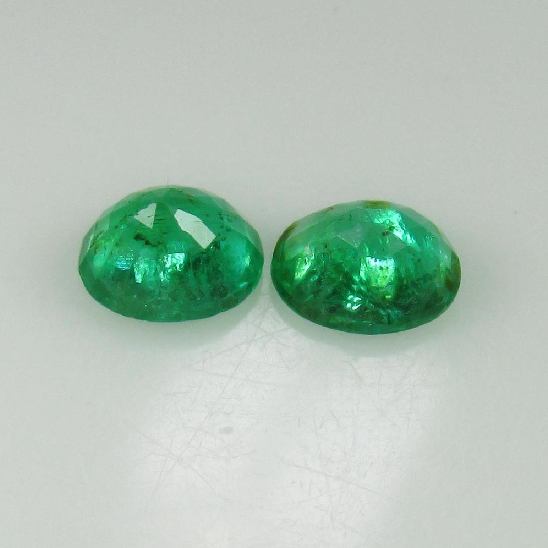 0.64 Ctw Natural Zambian Emerald 5x4 mm Oval Pair - 2