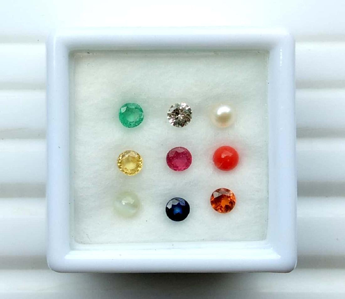 Calibrate 3.0 mm Round Natural Navratna 9 Gemstones Set