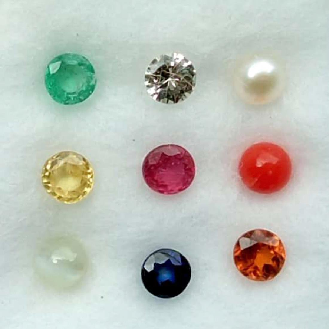 Calibrate 3.0 mm Round Natural Navratna 9 Gemstones Set - 2