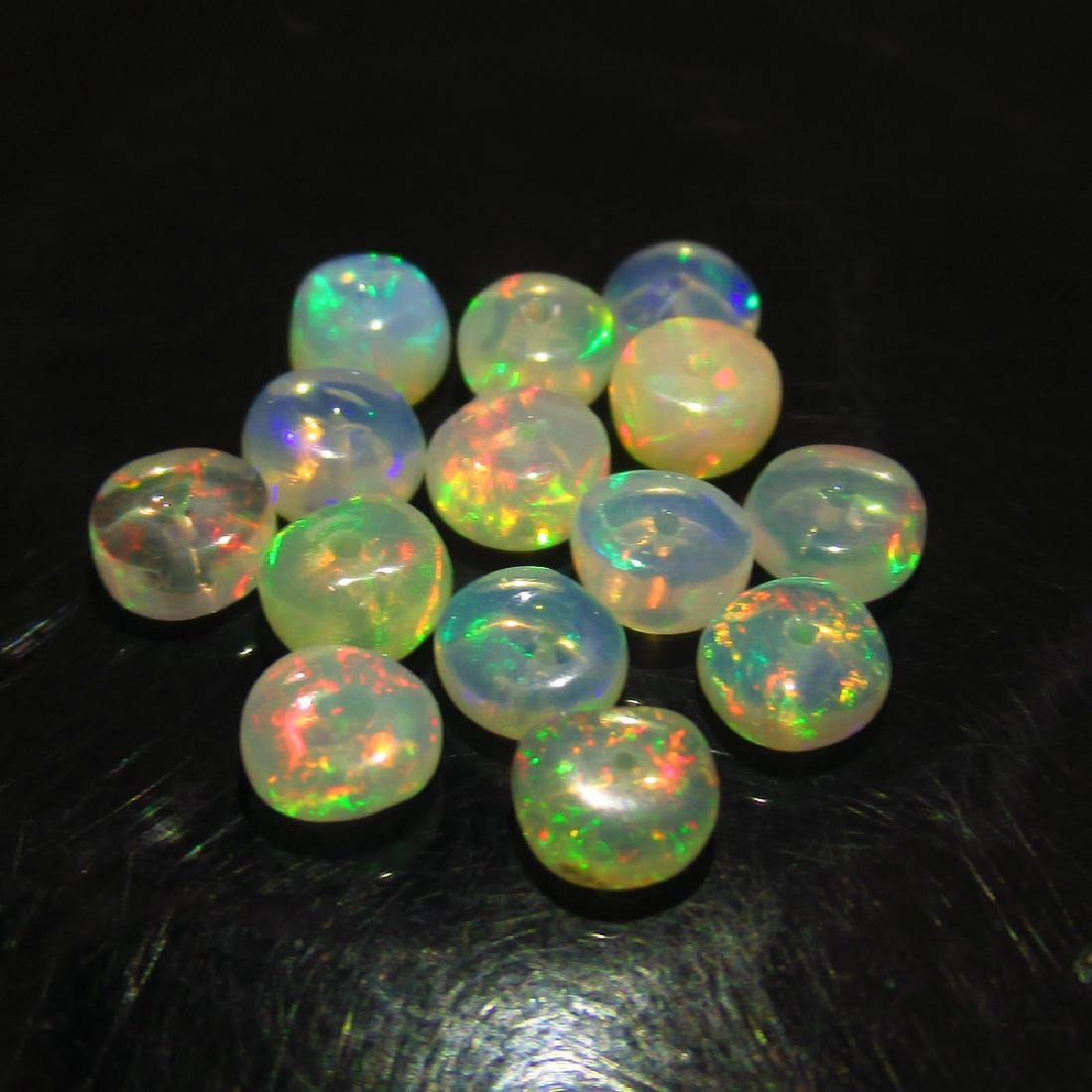 4.12 Ctw Natural 14 Drilled Ethiopian Fire Opal Beads