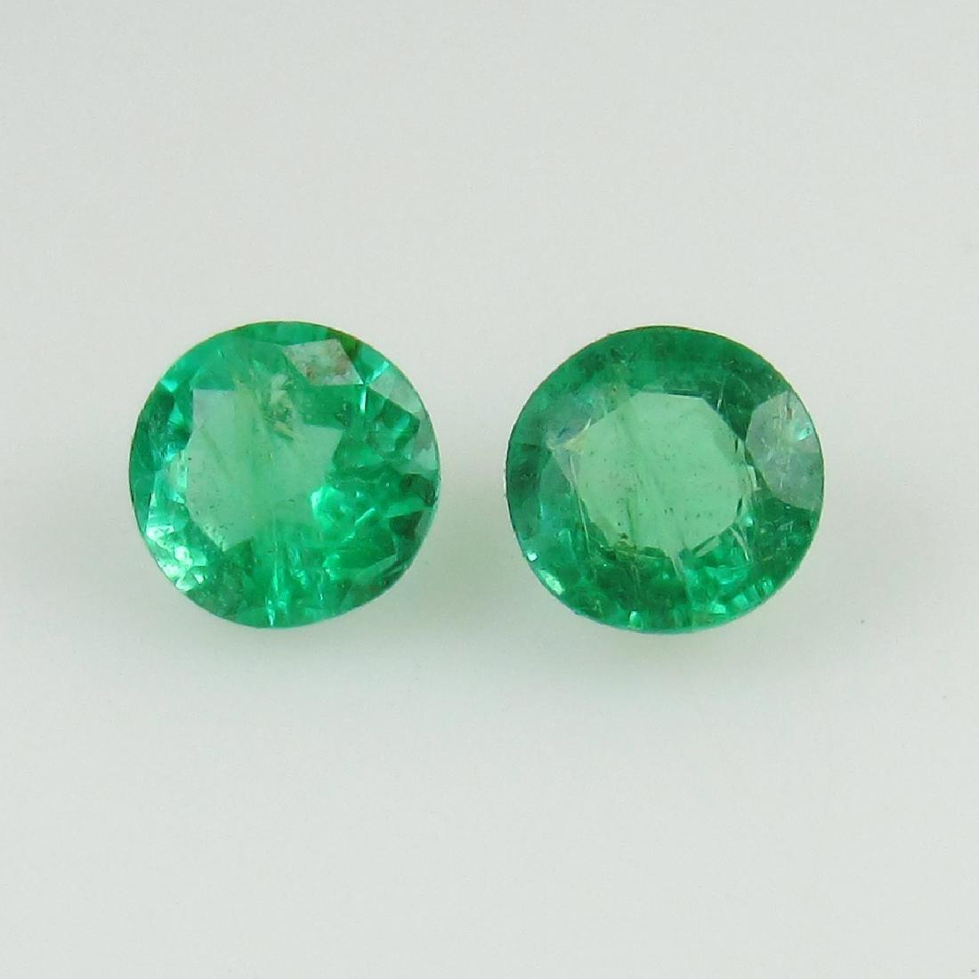 0.55 Ct Genuine Loose Zambian Emerald 4.2 mm Round Pair