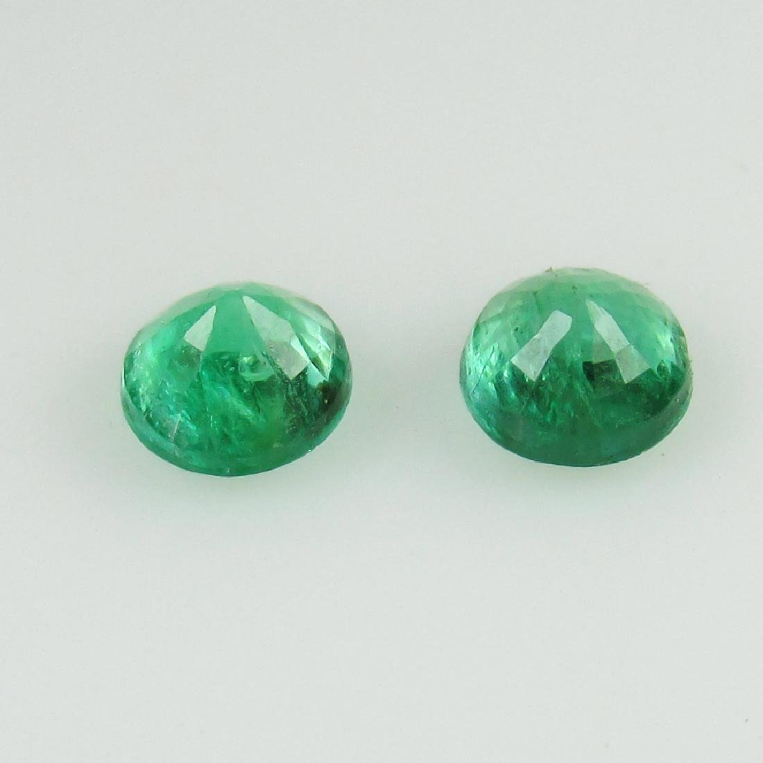 0.55 Ct Genuine Loose Zambian Emerald 4.2 mm Round Pair - 2