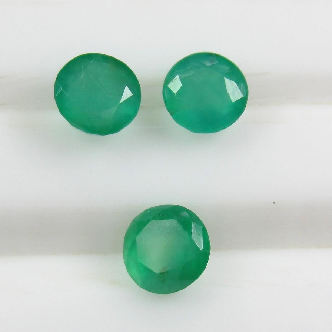 1.36 Ct Genuine Zambian Emerald 4.2 mm Matching Round