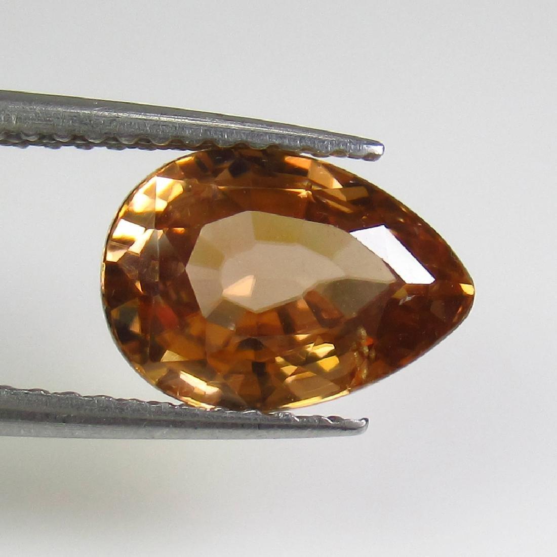 3.42 Ct Genuine Yellowish Orange Zircon 10X7 mm Pear