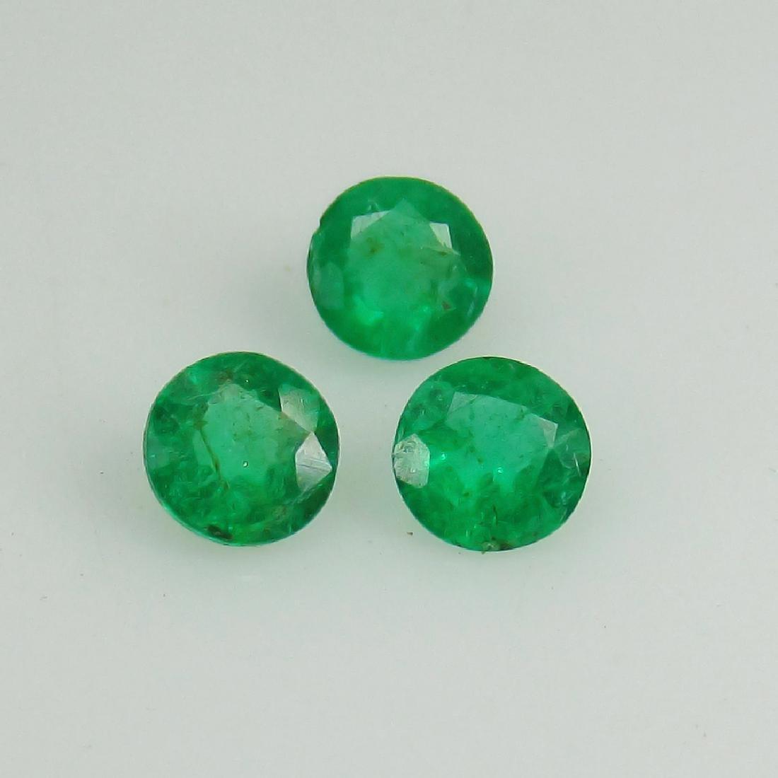 0.70 Ctw Natural Zambian Emerald 4 mm Round Matching - 4
