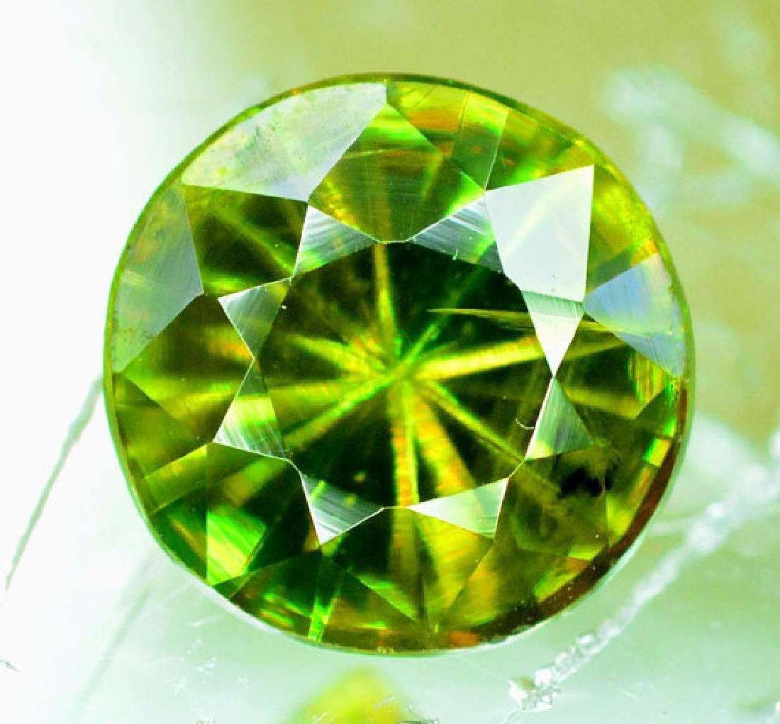 1.0 cts Rare Extreme Full Fire Green Sphene Titanite ~