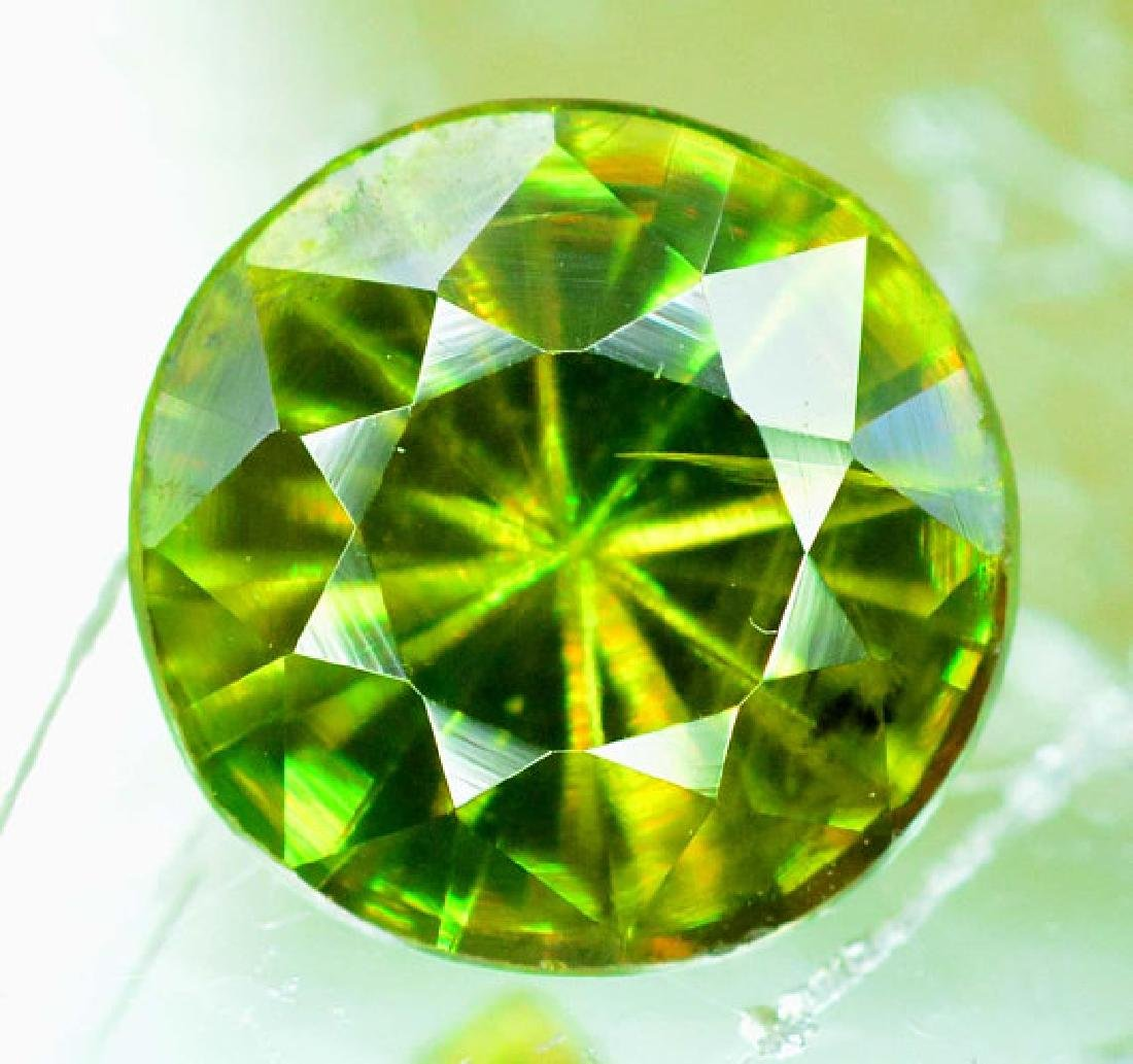 1.0 cts Rare Extreme Full Fire Green Sphene Titanite ~ - 3