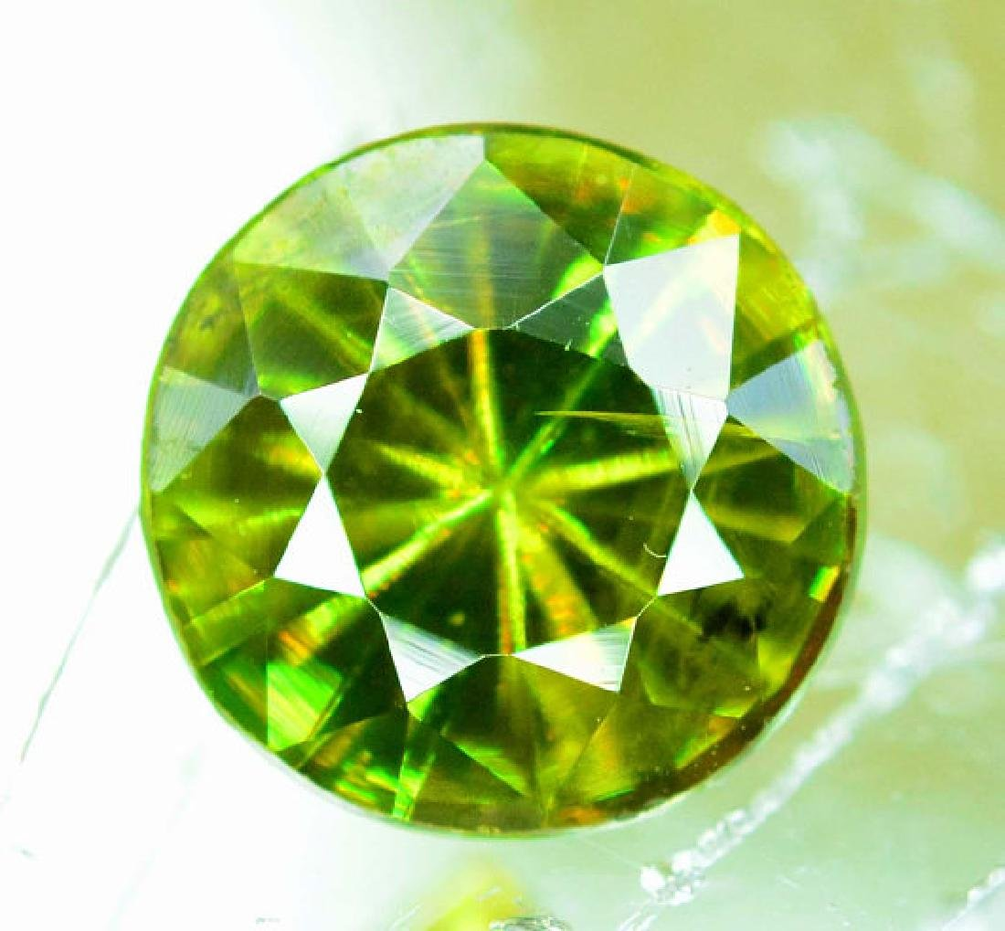 1.0 cts Rare Extreme Full Fire Green Sphene Titanite ~ - 4