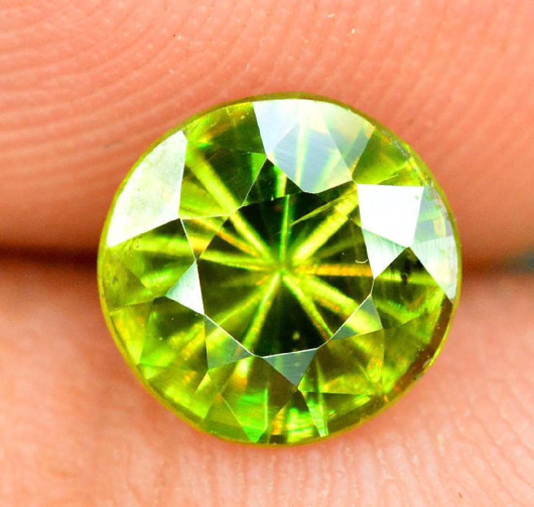 1.0 cts Rare Extreme Full Fire Green Sphene Titanite ~ - 5