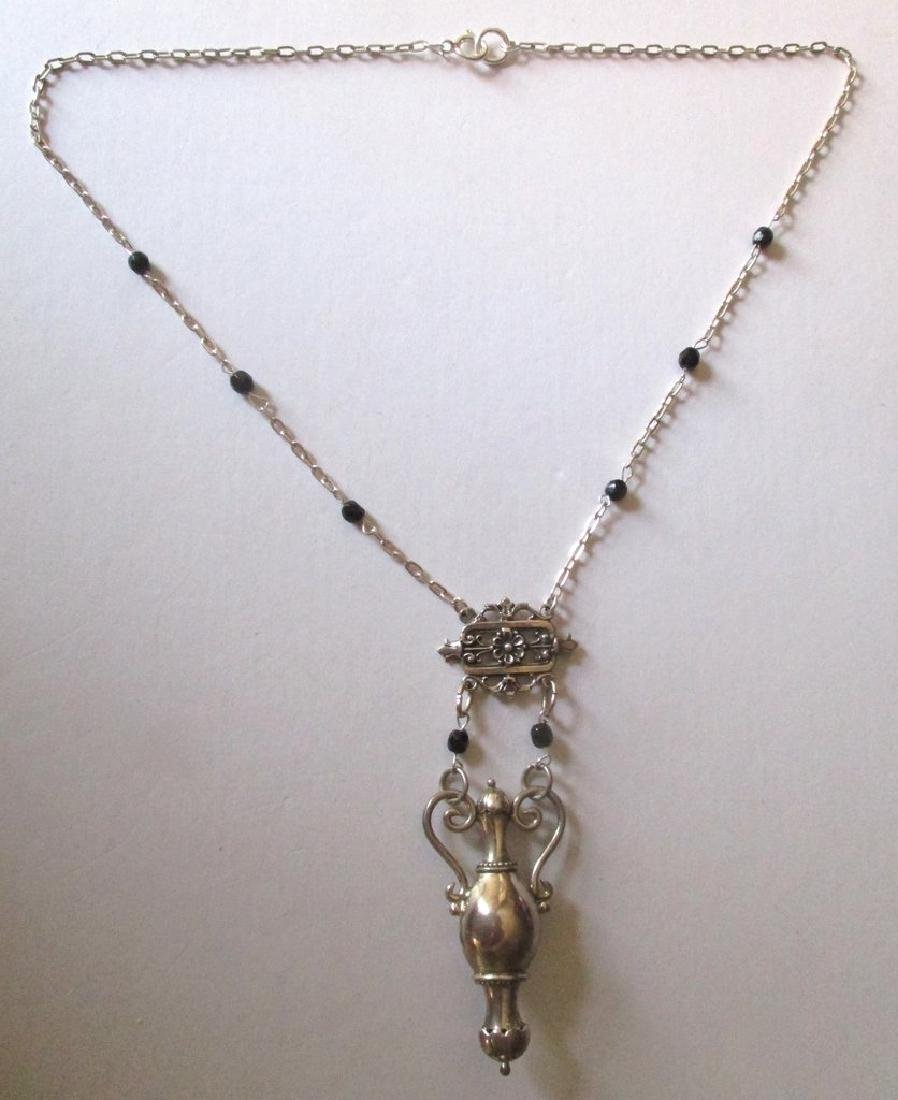 Vintage Sterling Silver Urn Necklace - 2