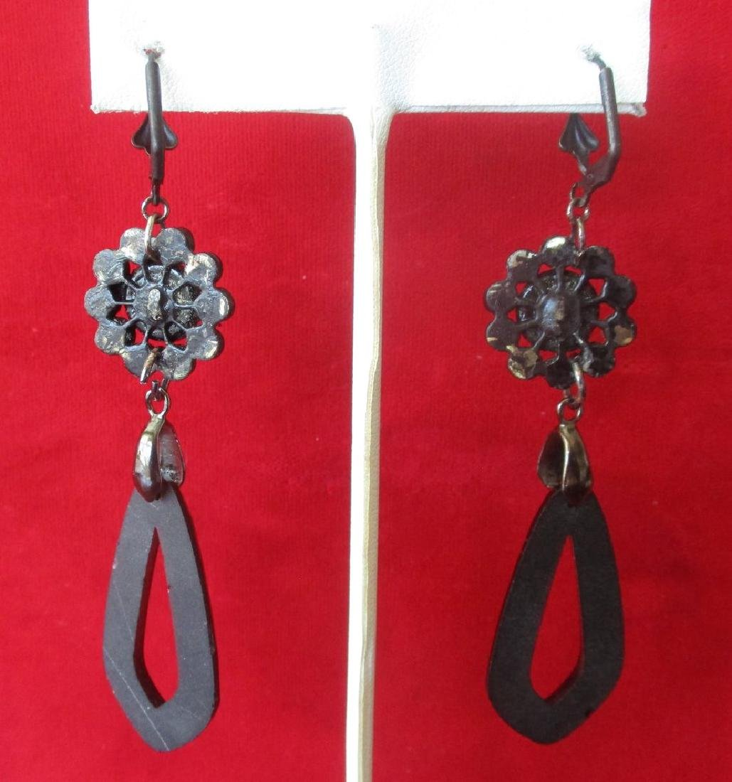 Pair of Victorian French Jet 3 - 1/4 Inch Earrings - 5