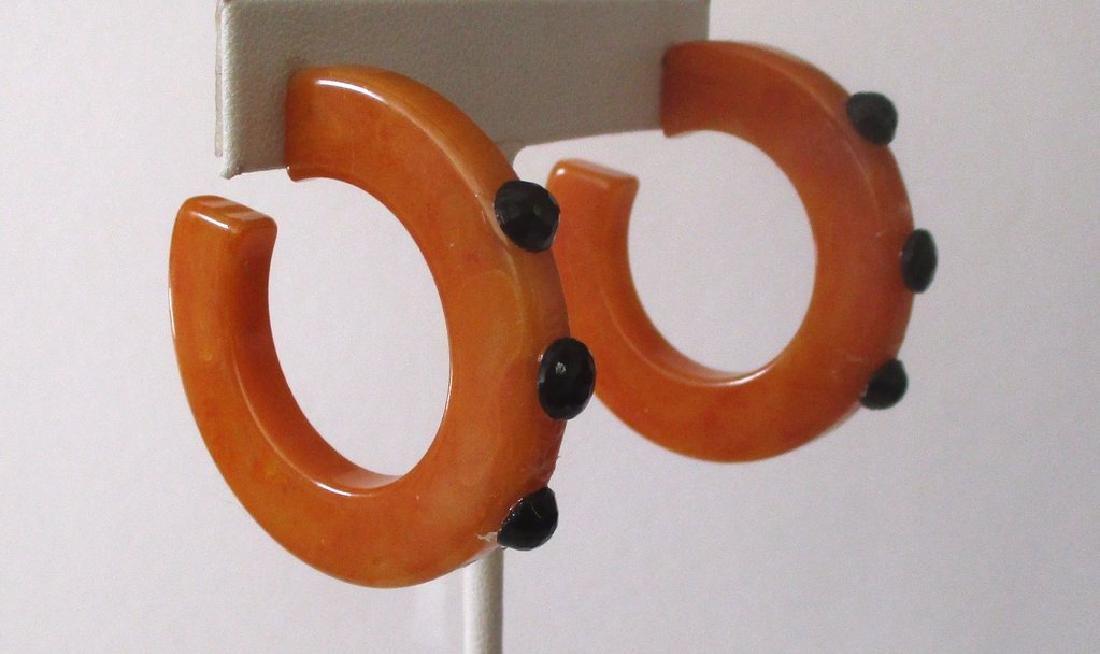 Pair of Vintage Plastic & French Jet Hoop Earrings