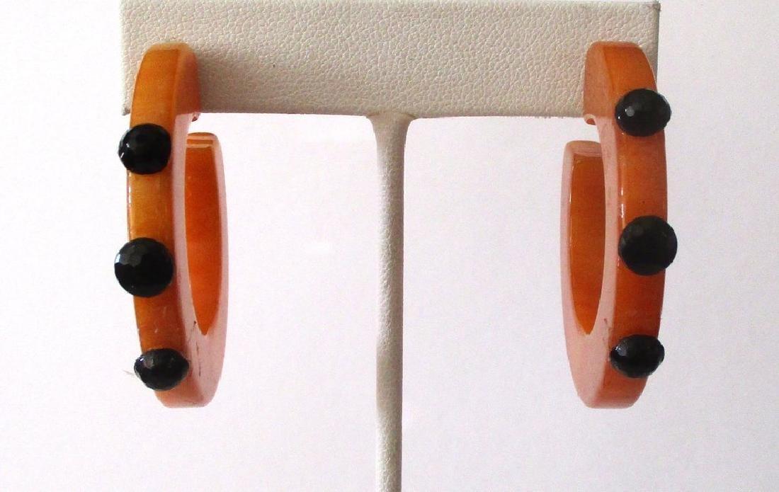 Pair of Vintage Plastic & French Jet Hoop Earrings - 2