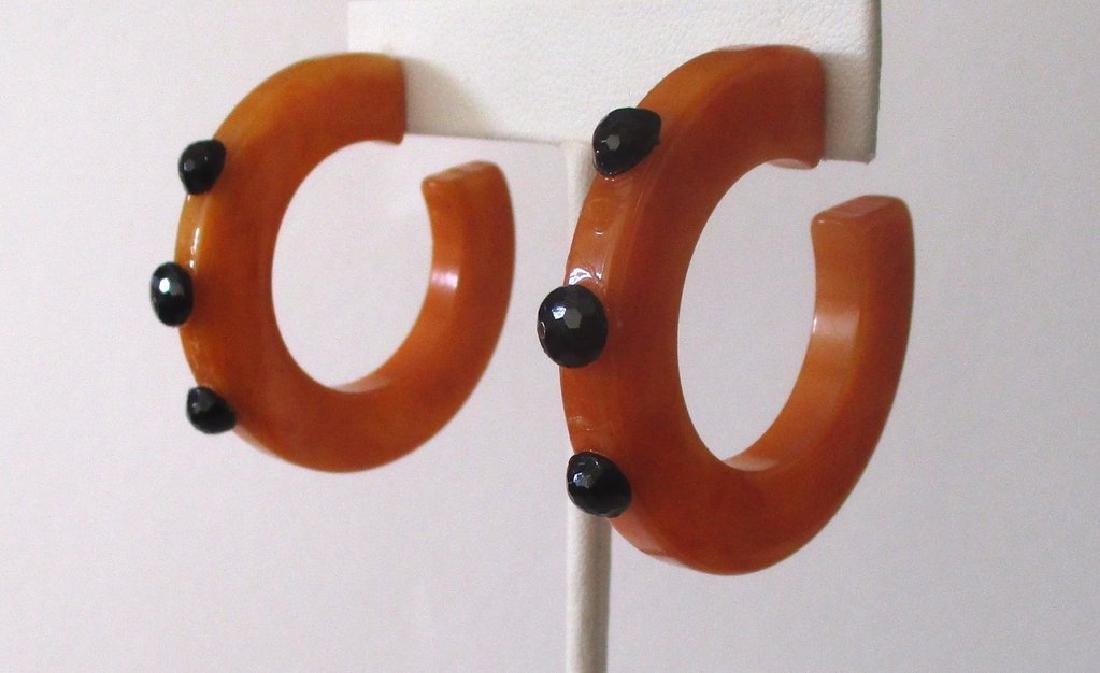 Pair of Vintage Plastic & French Jet Hoop Earrings - 3