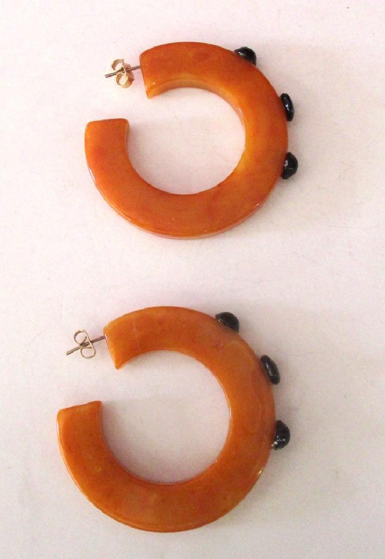 Pair of Vintage Plastic & French Jet Hoop Earrings - 4