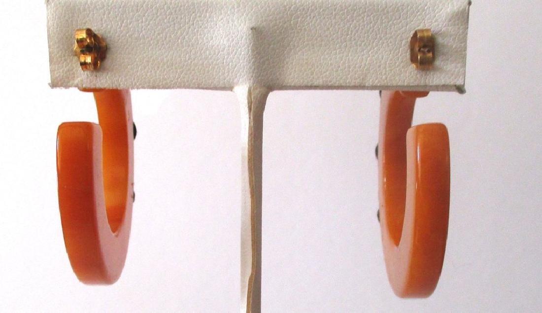 Pair of Vintage Plastic & French Jet Hoop Earrings - 5