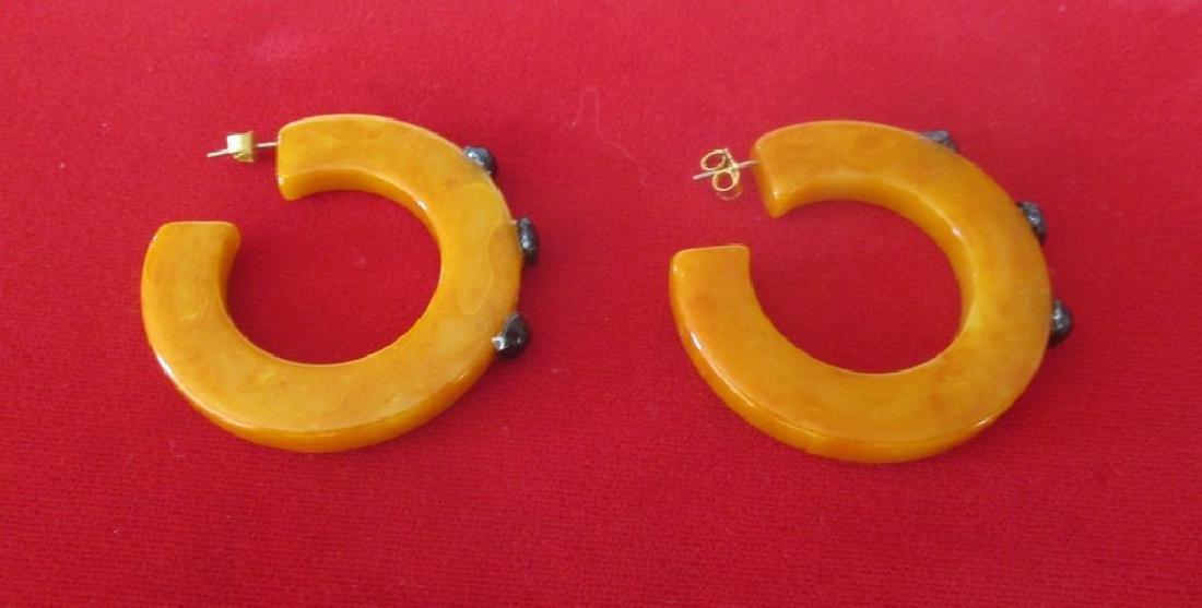 Pair of Vintage Plastic & French Jet Hoop Earrings - 7