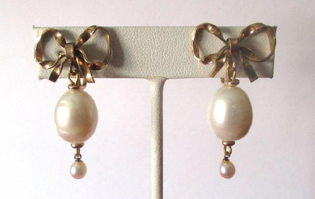 Pair of Vintage Gold Filled & Pearl Screw-Back Wedding - 2