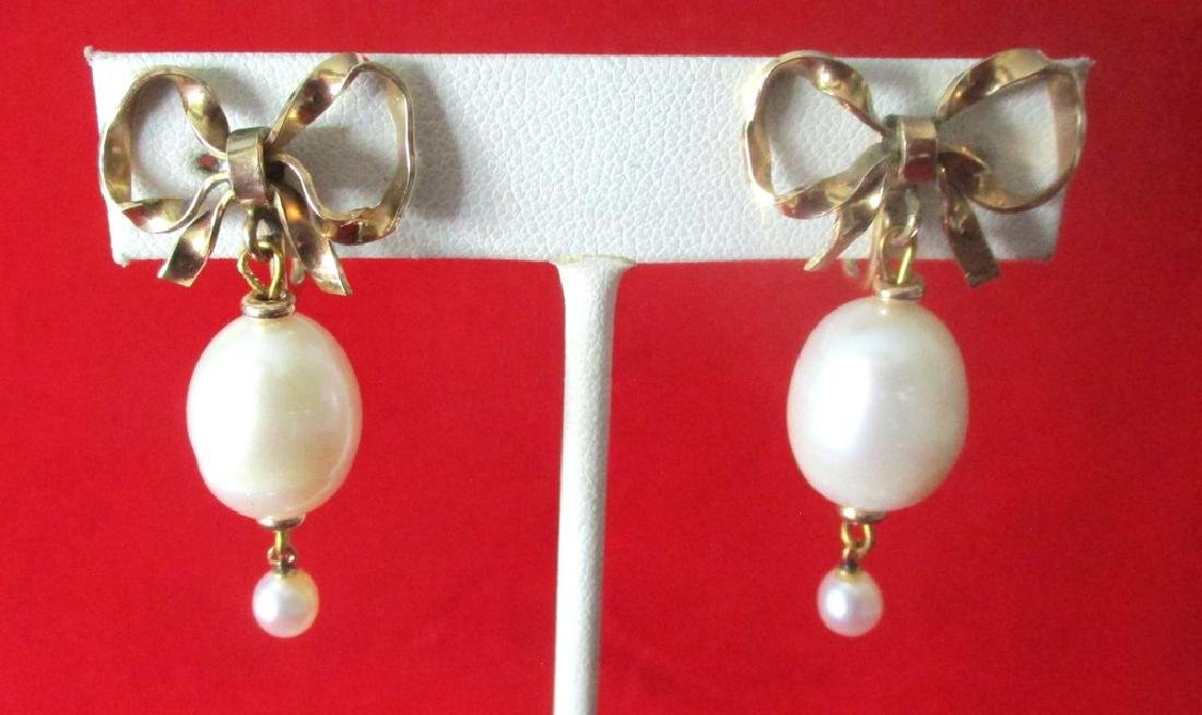 Pair of Vintage Gold Filled & Pearl Screw-Back Wedding - 3