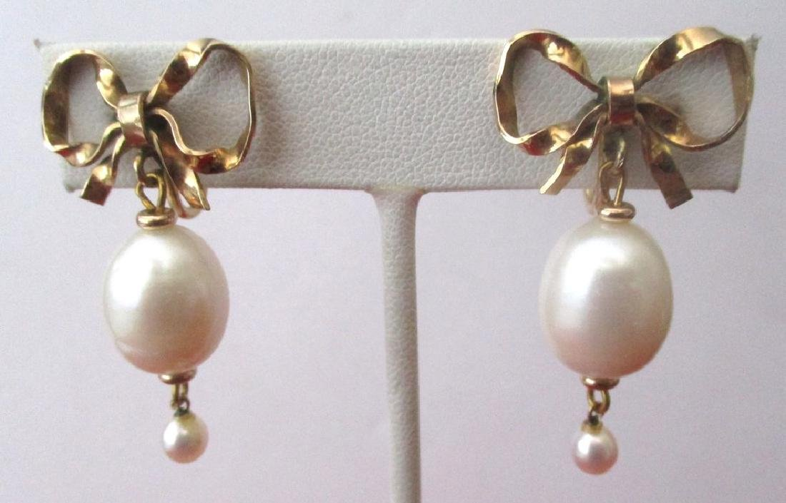 Pair of Vintage Gold Filled & Pearl Screw-Back Wedding - 4