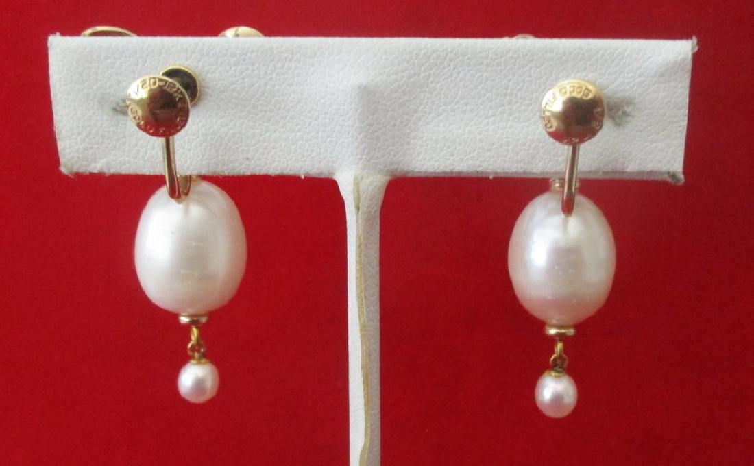Pair of Vintage Gold Filled & Pearl Screw-Back Wedding - 5