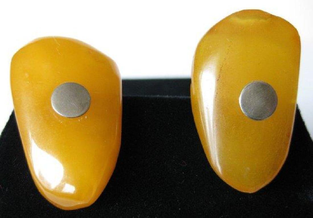 Pair of Vintage Amber & Silver Cuff LInks - 2