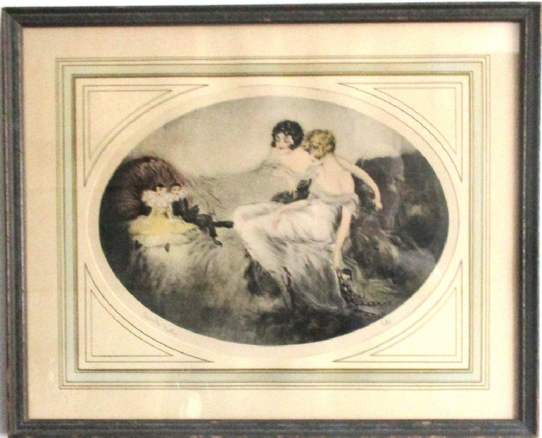"""Original & Signed """"French Dolls"""" by Cote Etching in"""