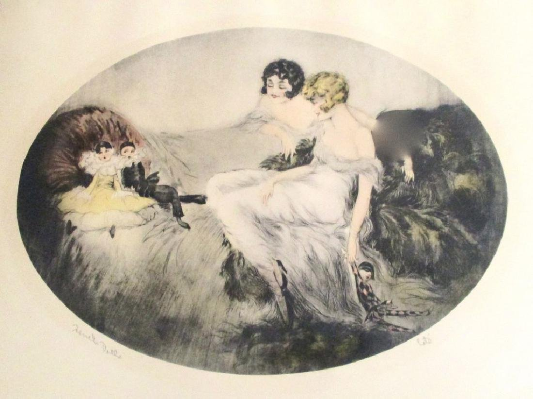"""Original & Signed """"French Dolls"""" by Cote Etching in - 4"""