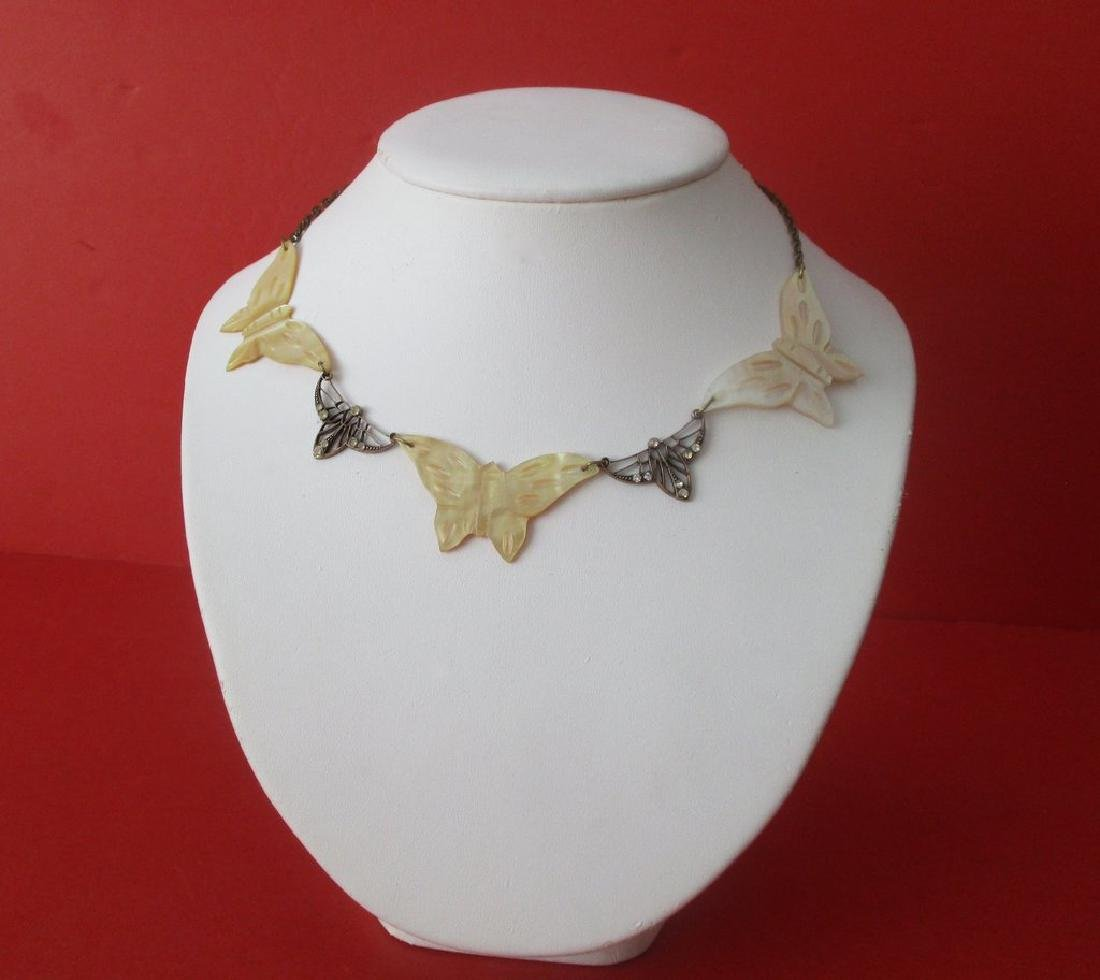 Vintage Mother-of-Pearl Butterfly Choker/Necklace