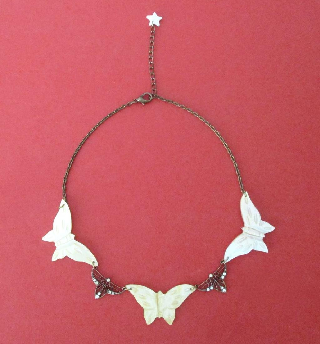 Vintage Mother-of-Pearl Butterfly Choker/Necklace - 3