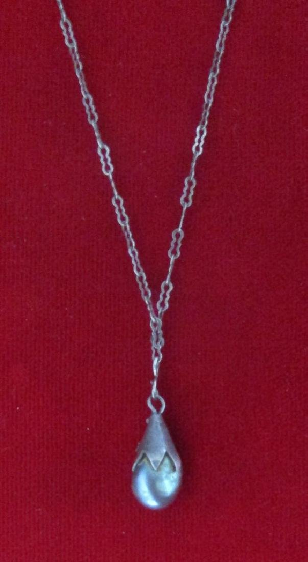 Vintage Gray Pearl Pendant on Sterling Silver Chain - 2