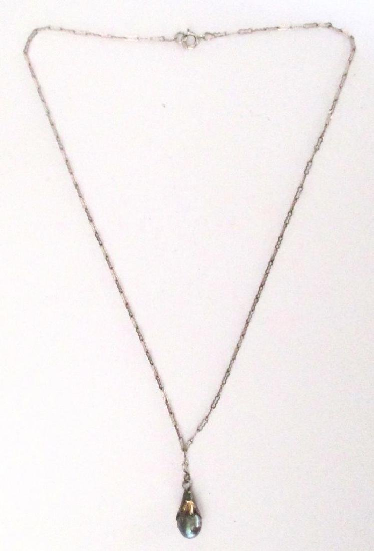 Vintage Gray Pearl Pendant on Sterling Silver Chain - 4