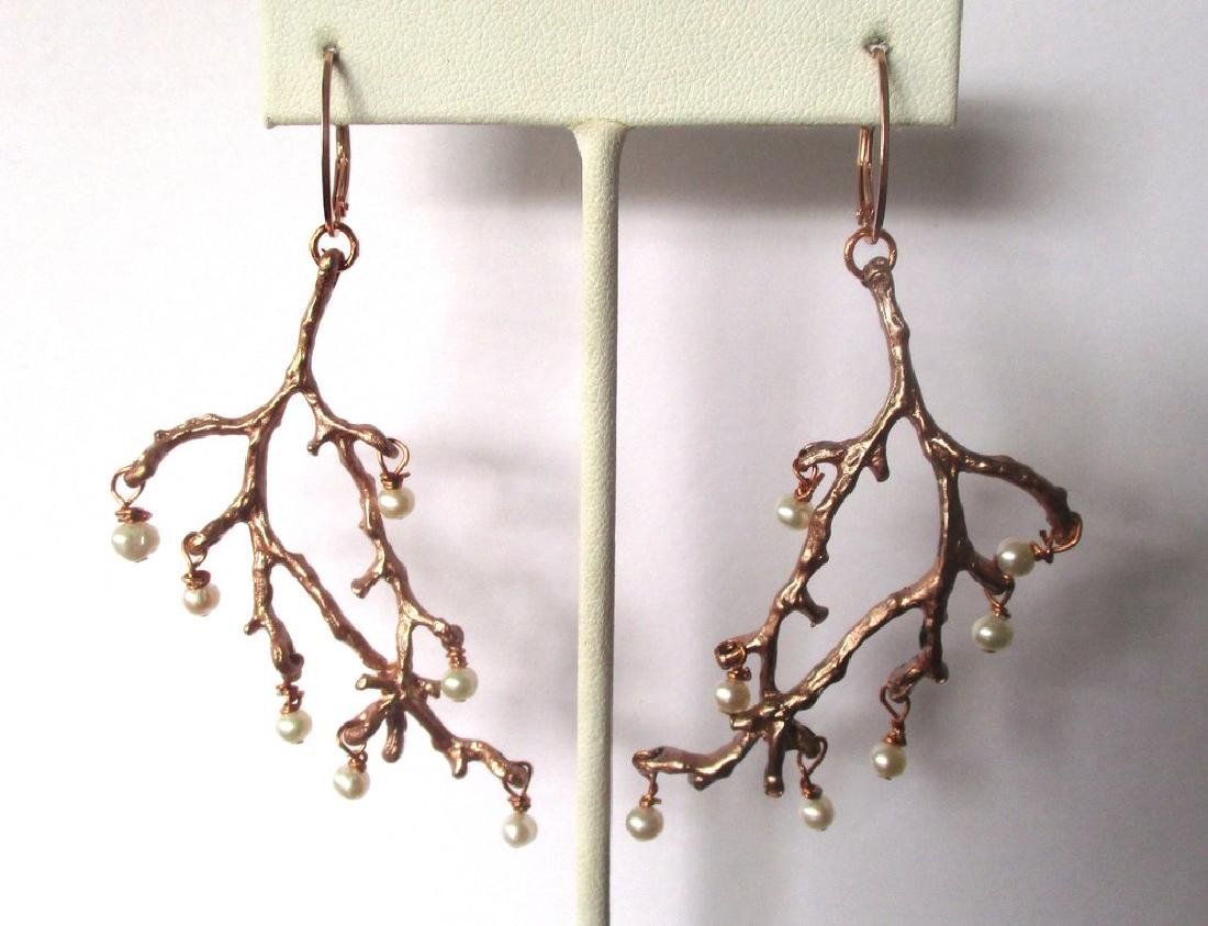 Pair of Copper Tone Twig Earrings With Pearls - 2