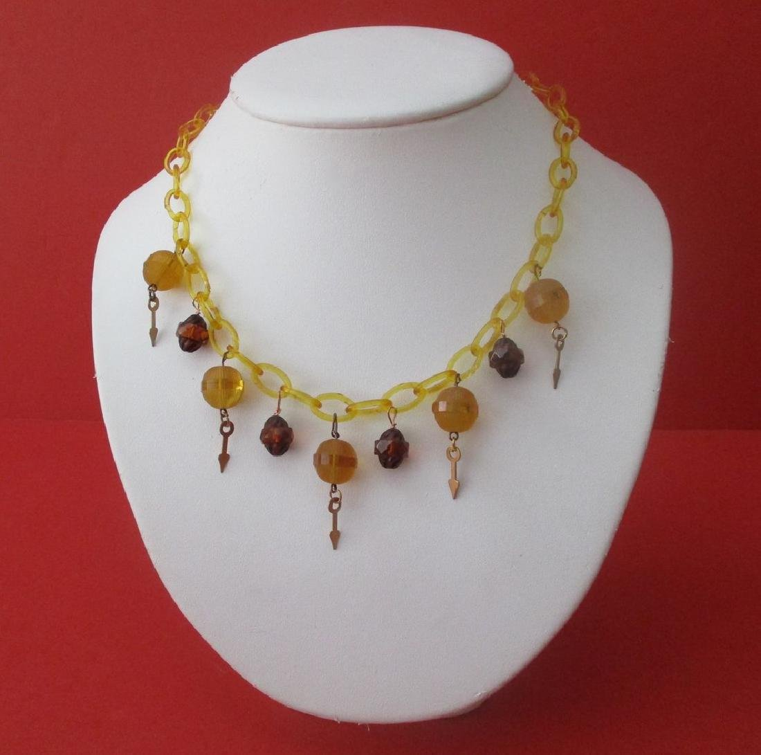 Vintage Celluloid & Glass Necklace from the 1930's