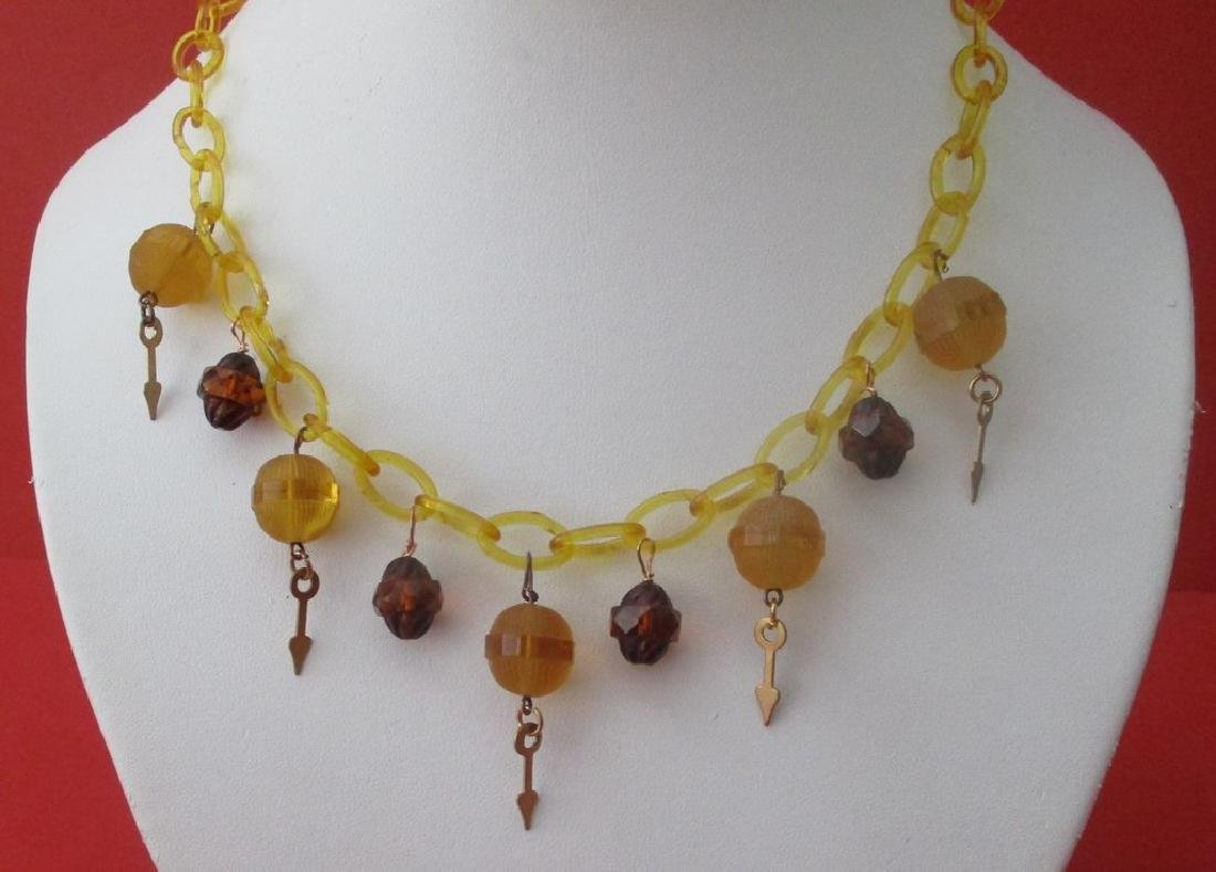Vintage Celluloid & Glass Necklace from the 1930's - 2